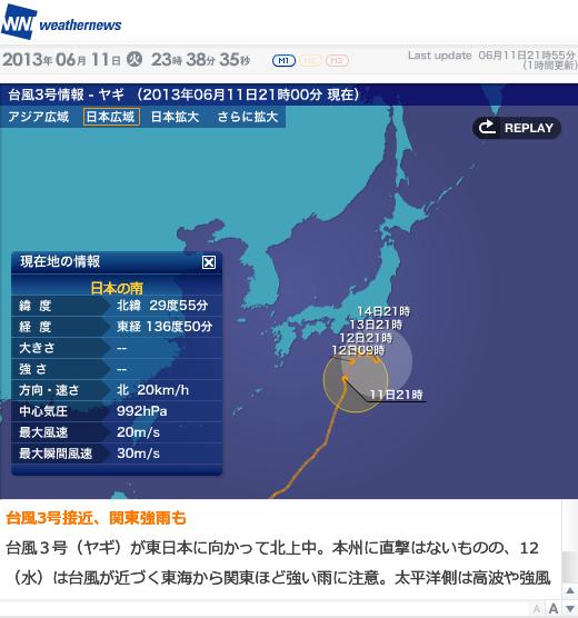 2013年台風2号進路図